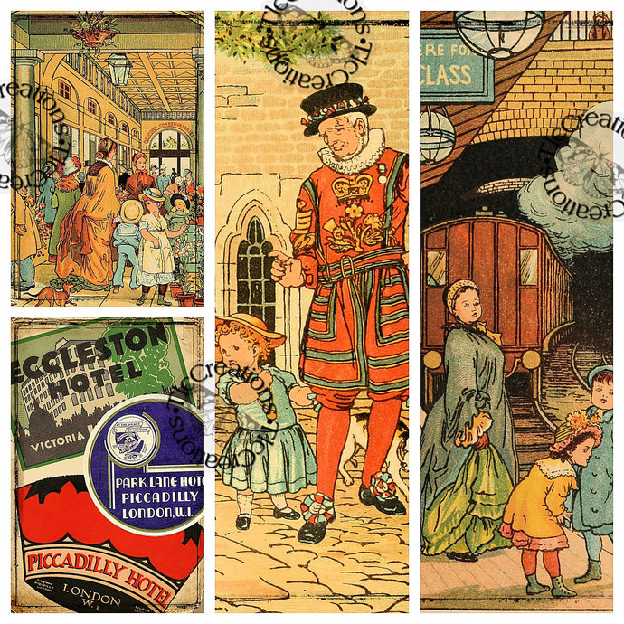 Welcome to London, Printable Vintage Journal Papers and Journal Cards/Ephemera