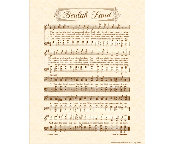 Beulah Land Vintage Verses DIY Print It Yourself Sheet Music Wall Art Antique