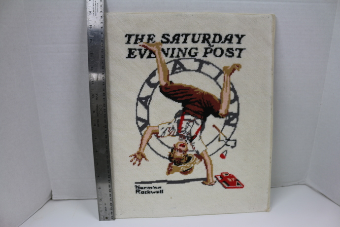 Vintage Norman Rockwell  Summer Vacation Boy Doing Cartwheel  completed