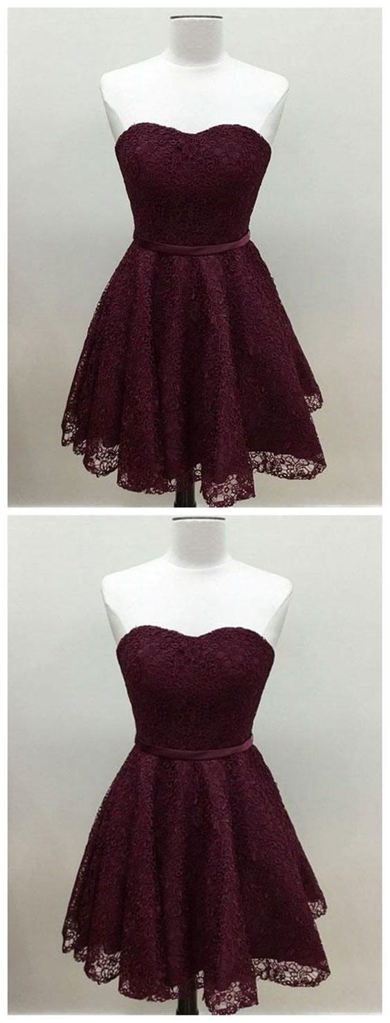 Sweetheart Cute Simpe Maroon Short Lace Homecoming Dresses
