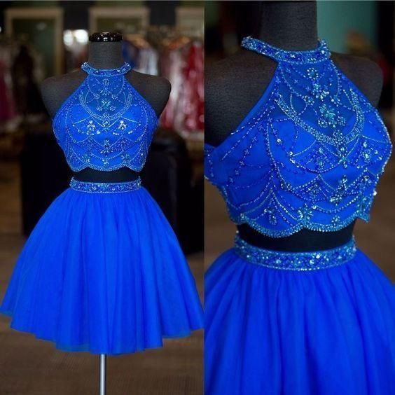 Halter Neck Two Pieces Short Homecoming Dress Graduation Dresses,Dance Dress