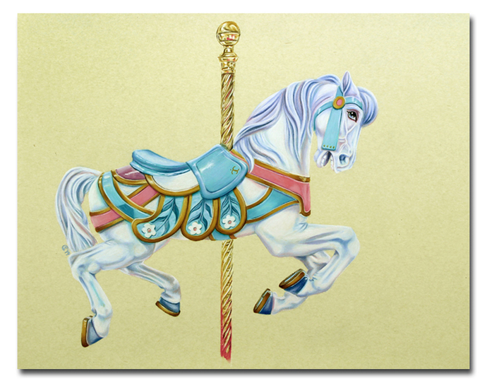 CAROUSEL HORSE merry go round colored pencils painting Sandrine Curtiss ORIGINAL
