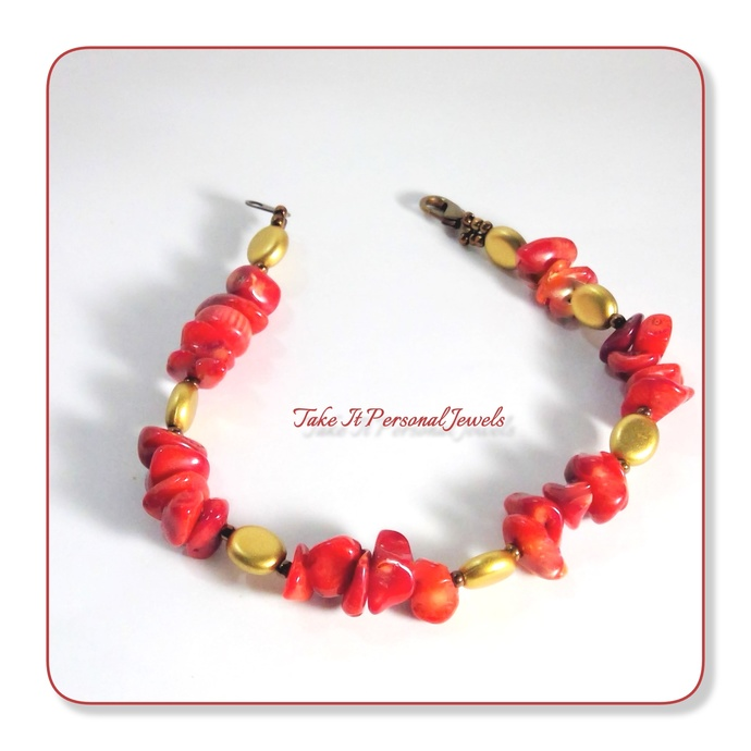 Coral Bamboo Handmade Bracelet Gemstone Jewelry Free Matching Earrings