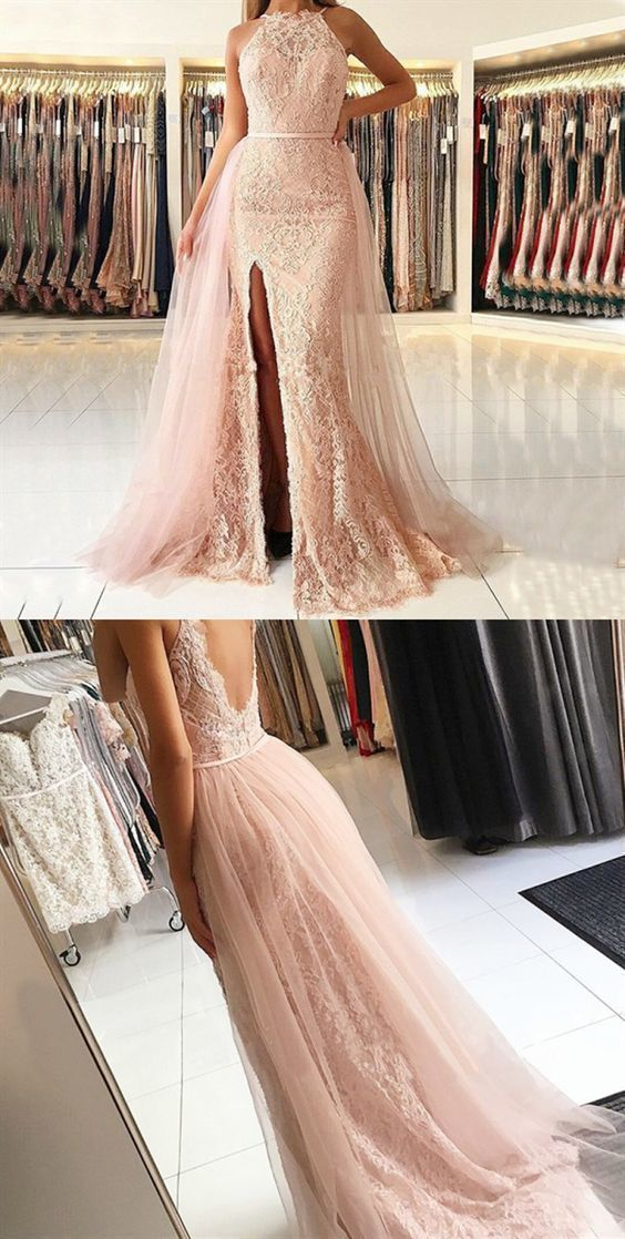 Charming Appliques Tulle Pink Mermaid Evening Dress with Slit, Pink Formal