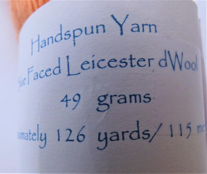 Handspun Yarn – Blue Faced Leicester Wool – 49 grams – Sport Weight - Orange