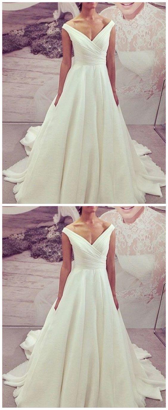Charming V neck White Satin Formal Wedding Dress, White Wedding Gown
