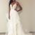 White V neck Spaghetti Straps Tulle Appliques Wedding Dresses with Appliques