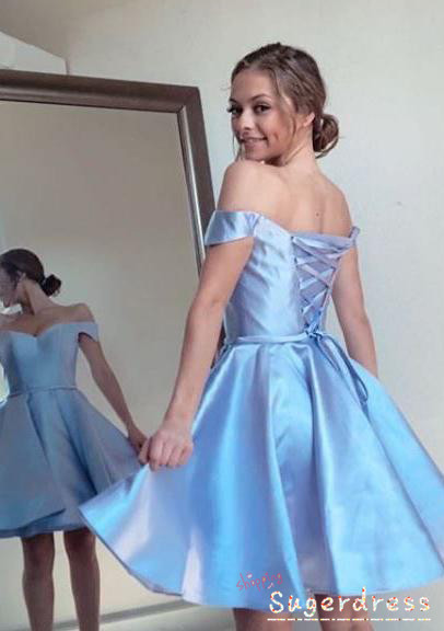Lace-Up Off the Shoulder Sky Blue Homecoming Dress