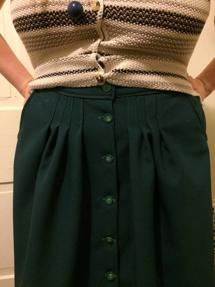 Classic Button Front A-line Skirt