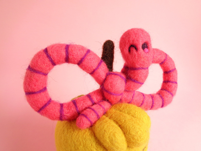 Pommie and her friend Worm bow, apple and worm wool sculpture, one of a kind