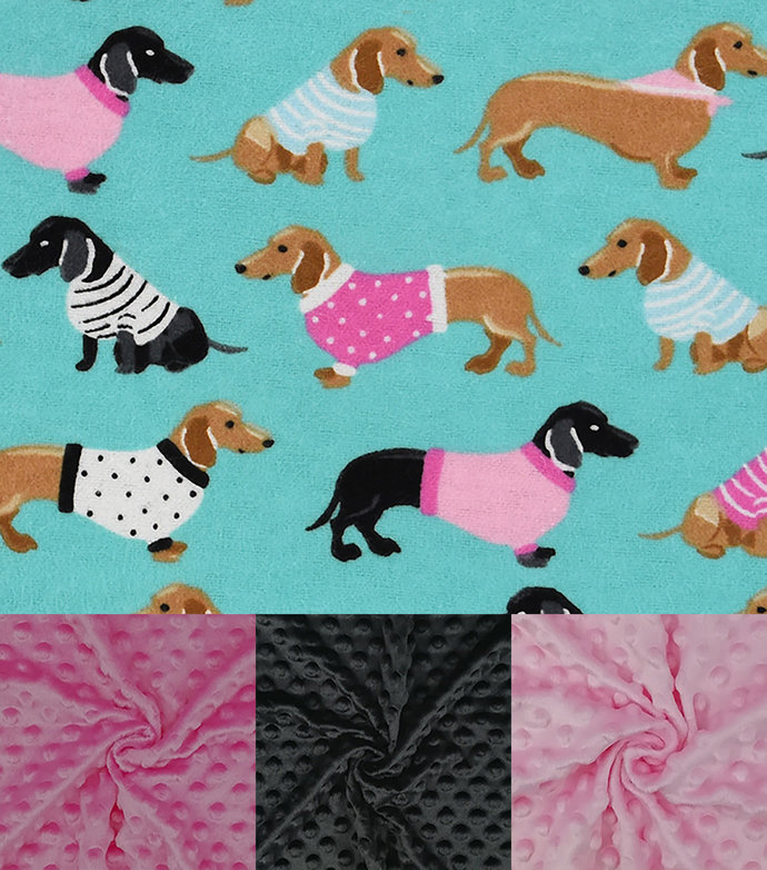 Weighted Blanket for Adults, Teen, Child - Minky and Flannel Puppies, Dacshunds