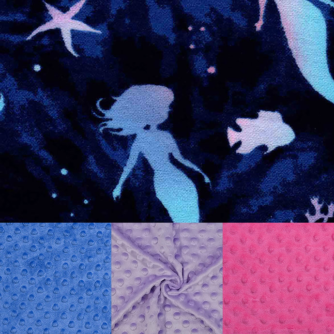 Child's Weighted Blanket Minky and Flannel Ombre Mermaids With Warranty