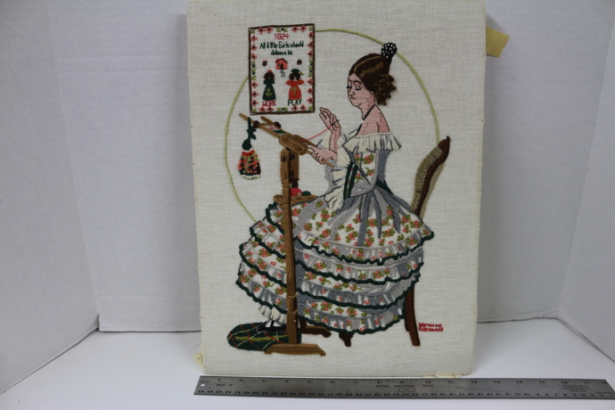 Vintage Handworked Crewel embroidered picture after Norman Rockwell's Colonial