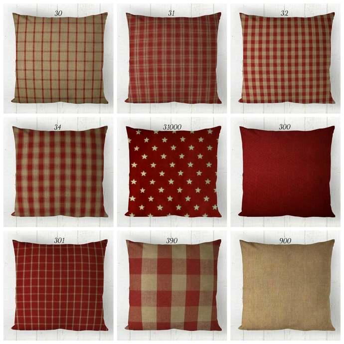 Red & Tan Pillow Cover, Decorative Farmhouse Throw Pillow Covers, Euro Pillow