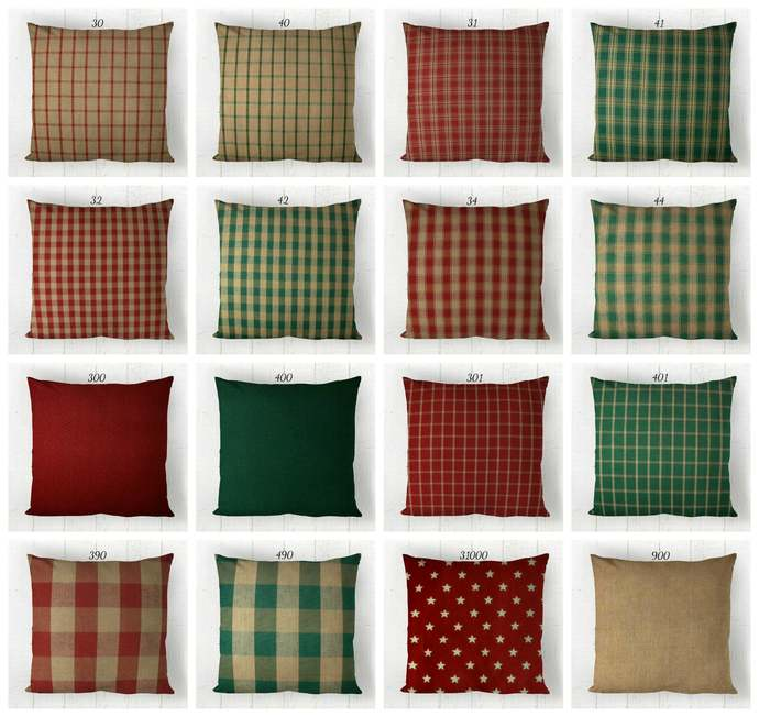 Red & Green Pillow Covers Plaid Check Solid / Homespun Farmhouse Rustic Country