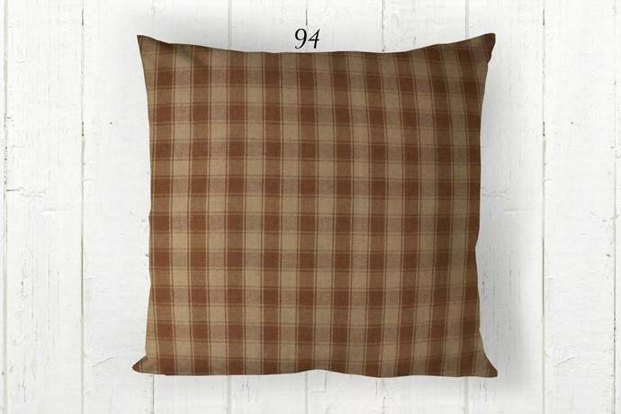 Brown & Tan Pillow Cover, House Check Plaid 94, Decorative Farmhouse Rustic