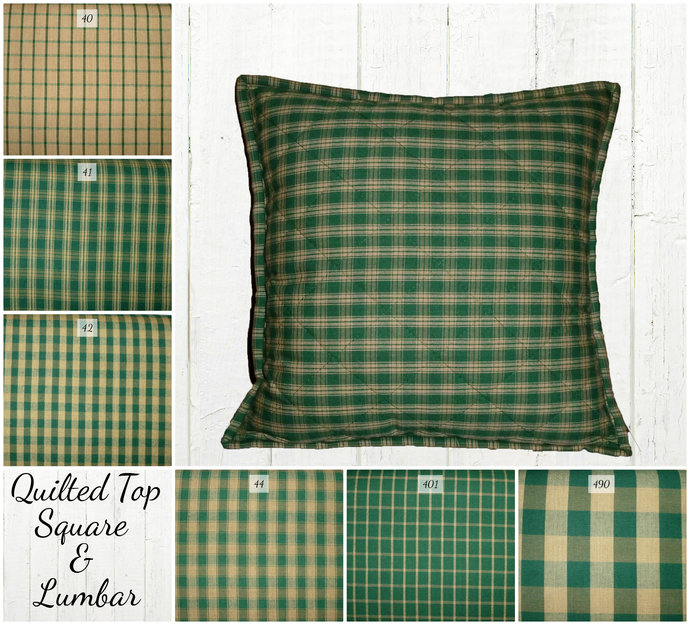 Quilted Top Pillow Covers / Green & Tan Plaid / Farmhouse Country Rustic Euro