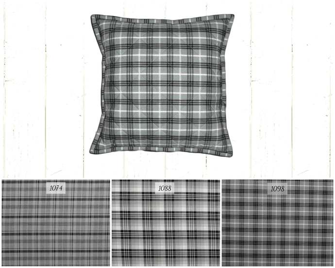 Quilted Top Pillow Covers / Gray Black White Plaid / Farmhouse Country Rustic