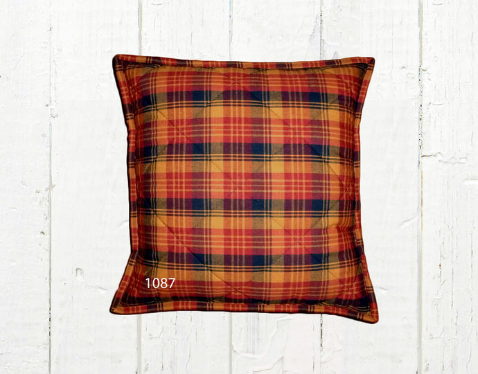 Quilted Top Pillow Covers / Red Mustard Black 1087 / Farmhouse Country Rustic