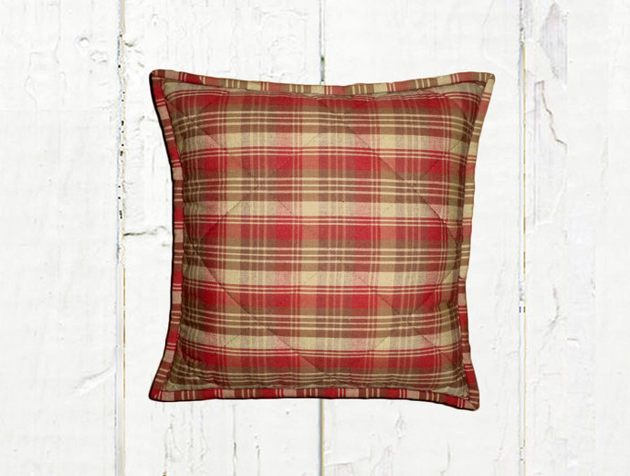 Quilted Top Pillow Covers / Red Brown & Tan Plaid 1081 / Farmhouse Country
