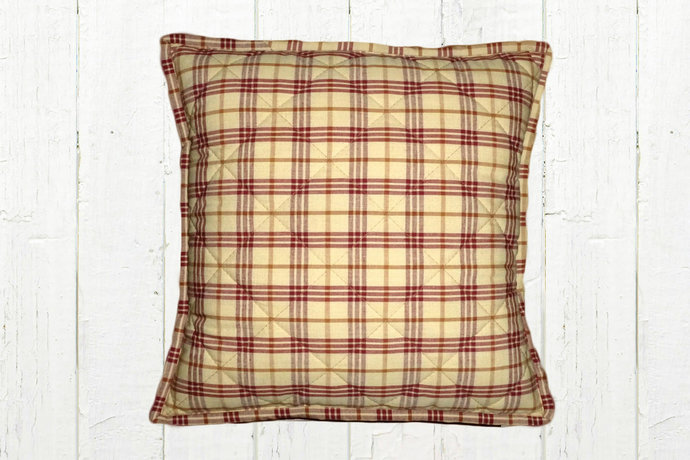 Quilted Top Pillow Covers / Cream w/ Red  Mustard Plaid 1095/ Farmhouse Country