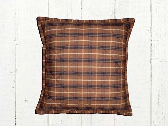 Quilted Top Pillow Covers / Brown Black & Tan Plaid 1093/ Farmhouse Country