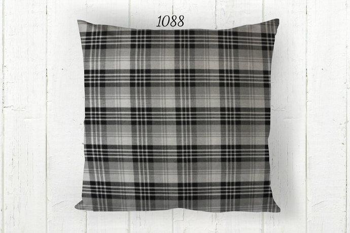 Gray Black & White Pillow Cover, Decorative Plaid 1088  Farmhouse Rustic Country