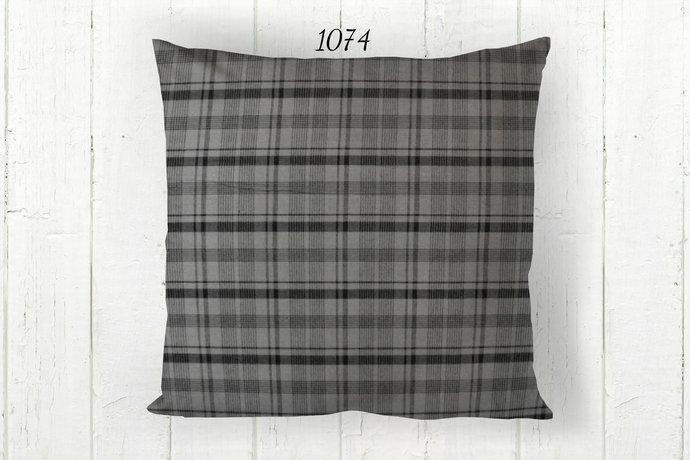 Gray & Black Pillow Cover, Decorative Plaid 1074 Farmhouse Rustic Country