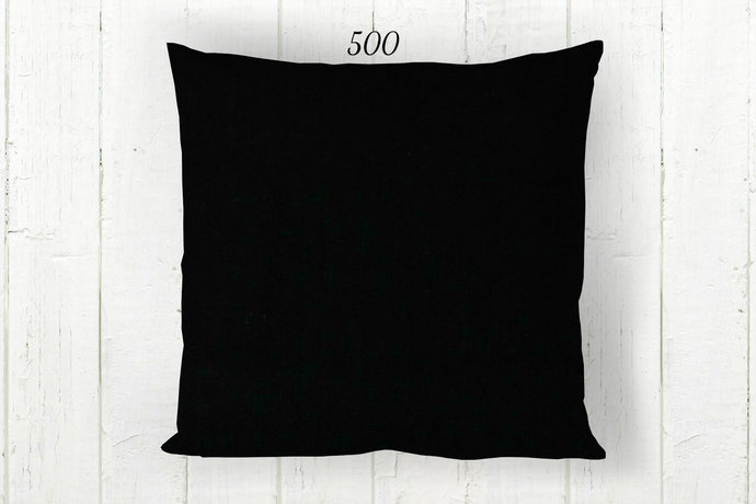 Solid Black Pillow Cover 500, Decorative Farmhouse Rustic Country Primitive,