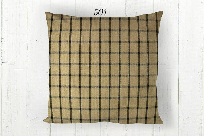 Tan & Black Pillow Cover, Windowpane Check Plaid 501, Decorative Farmhouse