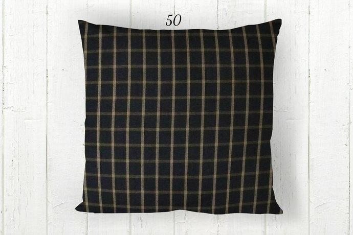 Black & Tan Pillow Cover, Windowpane Check Plaid 50, Decorative Farmhouse Rustic