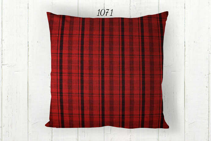 Red Black Pillow Cover, Decorative Plaid 1071 Farmhouse Rustic Country Cabin,