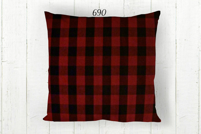 Red Black Pillow Cover, Buffalo Check 690, Decorative Farmhouse Rustic Country