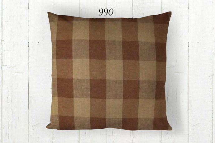Brown & Tan Pillow Cover, Buffalo Check 990, Decorative Farmhouse Rustic Country
