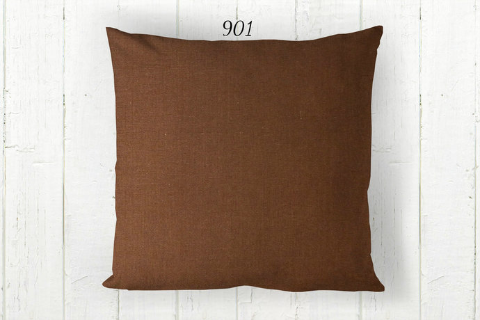 Solid Brown Pillow Cover 901, Decorative Farmhouse Rustic Country Cabin, Euro