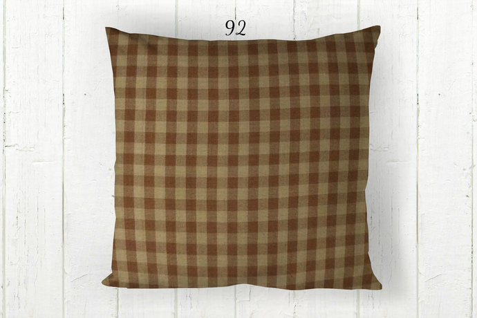 Brown & Tan Pillow Cover, Gingham Check 92, Decorative Farmhouse Rustic Country
