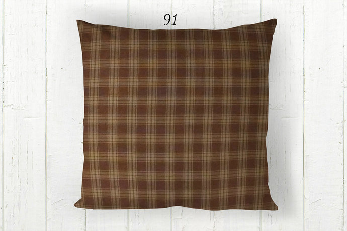 Brown & Tan Pillow Cover, Catawba Plaid 91, Decorative Farmhouse Rustic Country