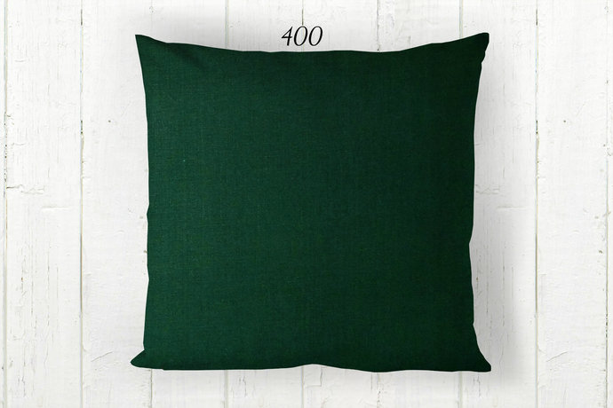Solid Green Pillow Cover 400, Decorative Farmhouse Rustic Country Cabin, Euro