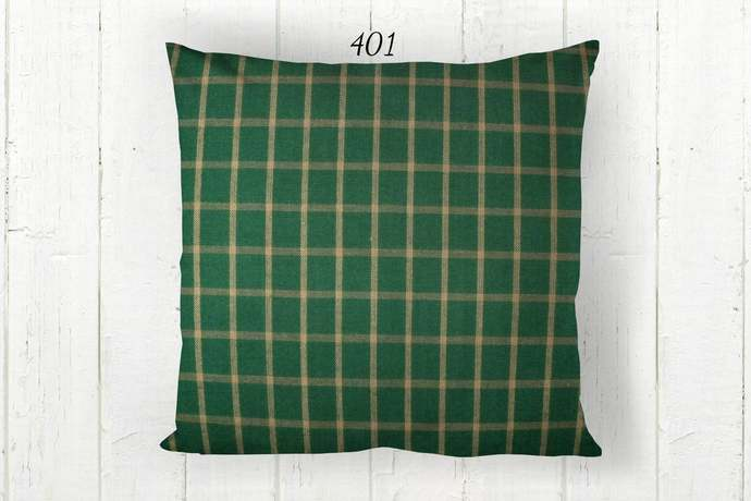 Green & Tan Pillow Cover, Windowpane Check 401, Decorative Farmhouse Rustic