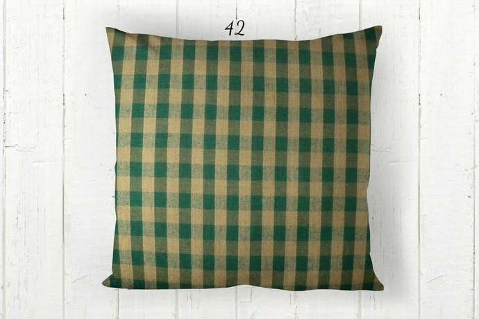 Green & Tan Pillow Cover, Gingham Check 42, Decorative Farmhouse Rustic Country
