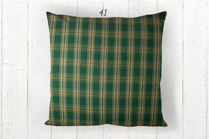 Green & Tan Pillow Cover, Catawba Plaid 41, Decorative Farmhouse Rustic Country