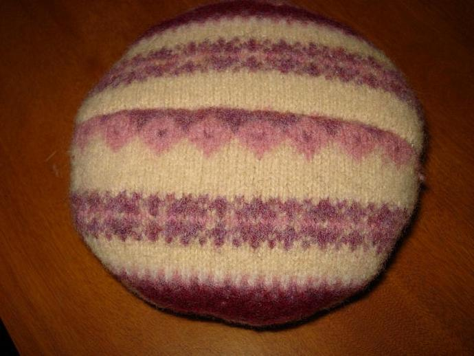 Pincushion - Embroidered Wool Pink, Purple, Tan