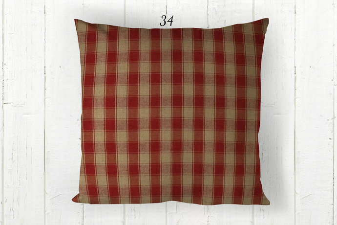 Red & Tan Pillow Cover, House Check Plaid 34, Decorative Farmhouse Rustic