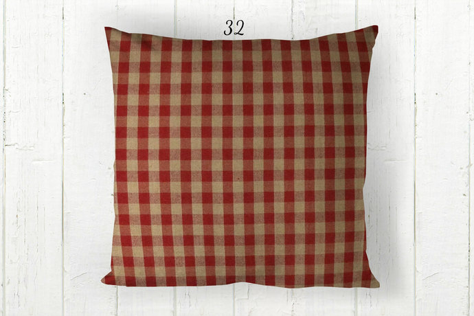 Red & Tan Pillow Cover, Gingham Check 32, Decorative Farmhouse Rustic Country