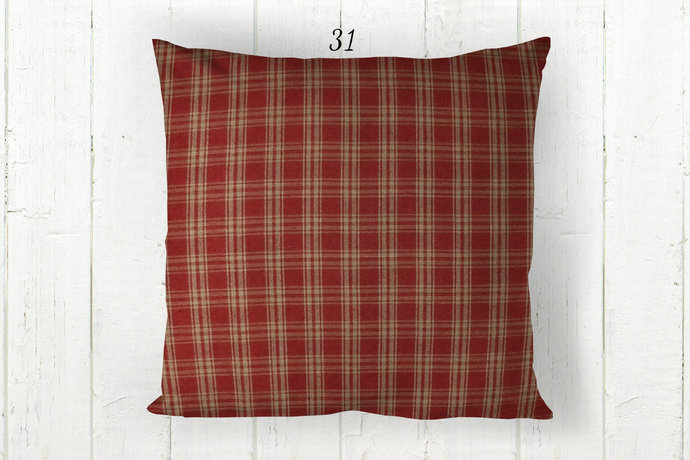 Red & Tan Pillow Cover, Catawba Plaid 31, Decorative Farmhouse Rustic Country