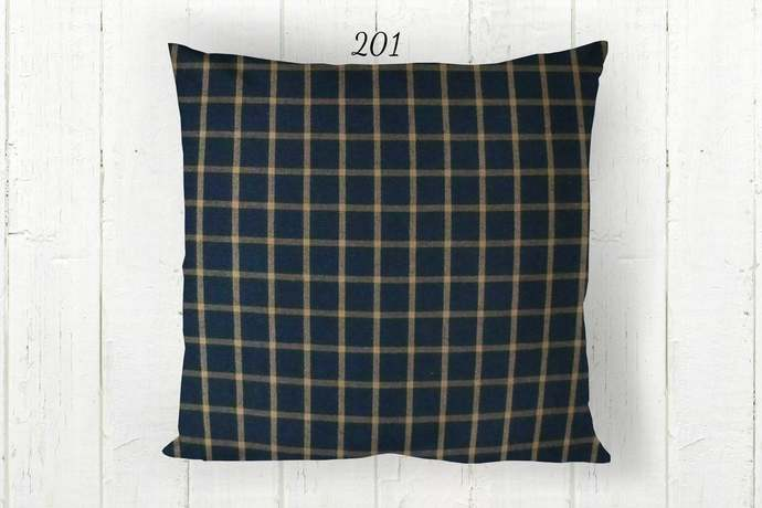 Navy Blue & Tan Pillow Cover, Window Pane Check Plaid 201, Decorative Farmhouse