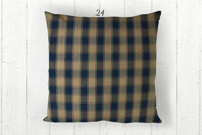 Navy Blue & Tan Pillow Cover, House Check 24, Decorative Farmhouse Rustic