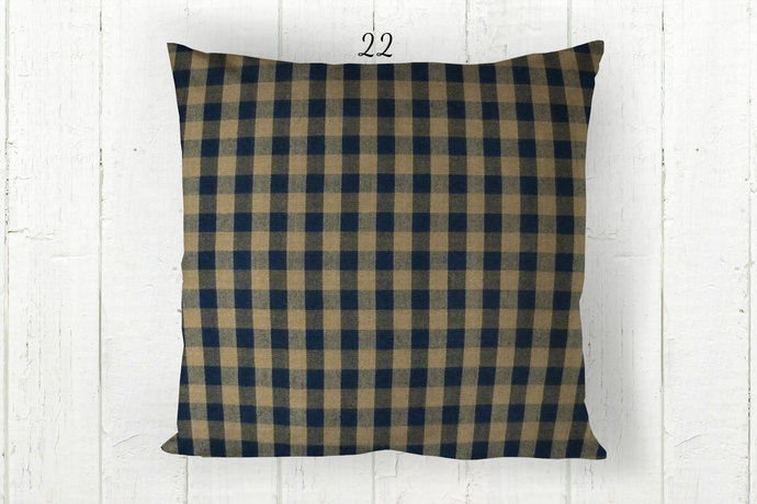 Navy Blue & Tan Pillow Cover, Gingham Check 22, Decorative Farmhouse Rustic