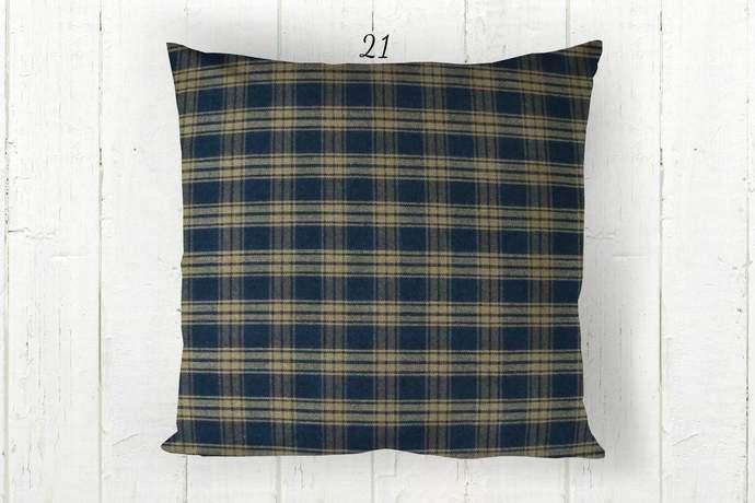 Navy Blue & Tan Pillow Cover, Catawba Plaid 21, Decorative Farmhouse Rustic