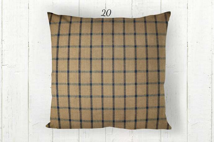 Tan & Navy Blue Pillow Cover, Windowpane Check Plaid 20, Decorative Farmhouse